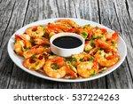 butter garlic fried shrimps... | Shutterstock . vector #537224263