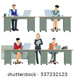 office workers  employee busy ... | Shutterstock . vector #537232123
