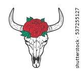 bull skull with roses native... | Shutterstock .eps vector #537255127