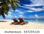 christmas on beach  chair... | Shutterstock . vector #537255133