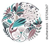 floral round shape. hand drawn... | Shutterstock .eps vector #537256267