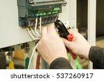 an electrician installs the...   Shutterstock . vector #537260917