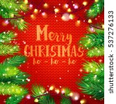 typographic christmas card with ... | Shutterstock . vector #537276133
