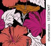hibiscus in pink and purple... | Shutterstock .eps vector #537287647