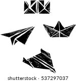 origami paper boats and planes | Shutterstock .eps vector #537297037