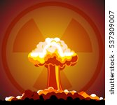 cartoon nuclear explosion with... | Shutterstock .eps vector #537309007