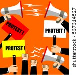protest  megaphone and stop... | Shutterstock .eps vector #537314527