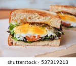poached eggs sandwich for... | Shutterstock . vector #537319213