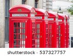 Five Red London Telephone Boxe...