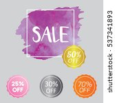 set of watercolor badge tag... | Shutterstock .eps vector #537341893