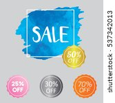 set of watercolor badge tag... | Shutterstock .eps vector #537342013