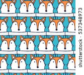Stock vector muzzle fox in blue pullover seamless vector pattern 537348973