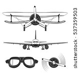aircraft objects set. planes ... | Shutterstock .eps vector #537359503