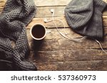 cup of coffee  knitted scarf ...   Shutterstock . vector #537360973