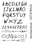 calligraphic alphabet. vector... | Shutterstock .eps vector #537378523