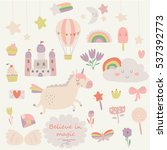 vector set of cute little... | Shutterstock .eps vector #537392773
