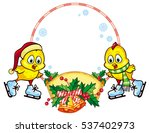 christmas holiday round frame... | Shutterstock .eps vector #537402973