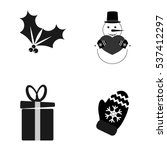 set christmas icons  flat...