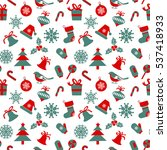 Seamless pattern with  Christmas symbols on white background