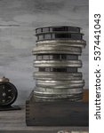 a stack of old movies in a...   Shutterstock . vector #537441043