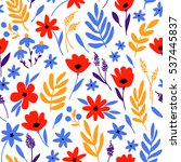 vector floral pattern with... | Shutterstock .eps vector #537445837