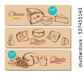 vector hand drawn banners with... | Shutterstock .eps vector #537455143