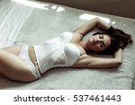 attractive sexy young woman in... | Shutterstock . vector #537461443