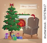 merry christmas interior with... | Shutterstock .eps vector #537578617