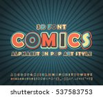 Colorful high detail comic font on comic book page. Alphabet in style of comics, pop art. Multilayer funny letters and figures for decoration of kids' illustrations, posters, strip, banners