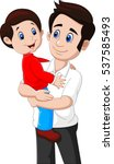 cartoon father and son playing... | Shutterstock .eps vector #537585493