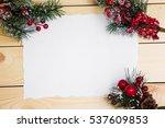 christmas wooden background... | Shutterstock . vector #537609853