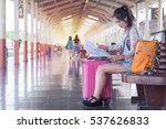 woman backpack train station... | Shutterstock . vector #537626833
