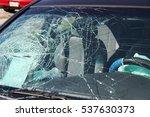 car wreck shattered windshield | Shutterstock . vector #537630373