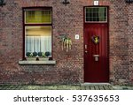 Red Wooden Window With White...