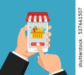 order food online. hand holding ... | Shutterstock .eps vector #537661507