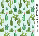 succulent and cactus seamless... | Shutterstock .eps vector #537680347