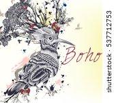 art bo ho illustration with... | Shutterstock .eps vector #537712753