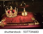 luxury crown jewelry on red... | Shutterstock . vector #537734683