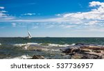 yacht sailboat sailing in... | Shutterstock . vector #537736957