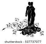 a bride and groom wedding... | Shutterstock .eps vector #537737077