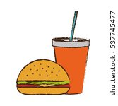 hamburger and soda drink icon... | Shutterstock .eps vector #537745477