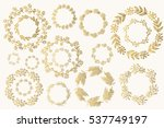 set of hand drawn fancy golden... | Shutterstock .eps vector #537749197