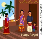 happy pongal celebration with... | Shutterstock .eps vector #537765853