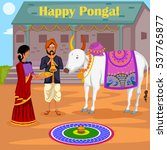 happy pongal celebration with... | Shutterstock .eps vector #537765877
