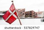 danish flag with buildings in...   Shutterstock . vector #537829747