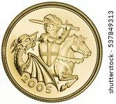 qeii 2005 gold sovereign... | Shutterstock . vector #537849313