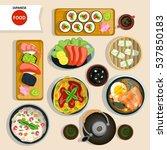 japanese food top view set | Shutterstock . vector #537850183