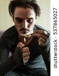 addict in depression preparing... | Shutterstock . vector #537865027