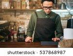barman making check | Shutterstock . vector #537868987