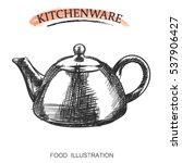 graphic hand drawn kettle on... | Shutterstock .eps vector #537906427